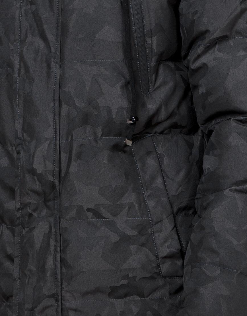 Дизайнерская куртка зимняя темно-серая модель 25110 фото 6