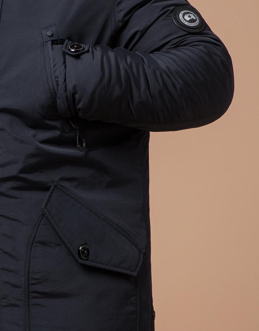 Мужская черно-синяя парка на зиму модель 91660 оптом фото 5