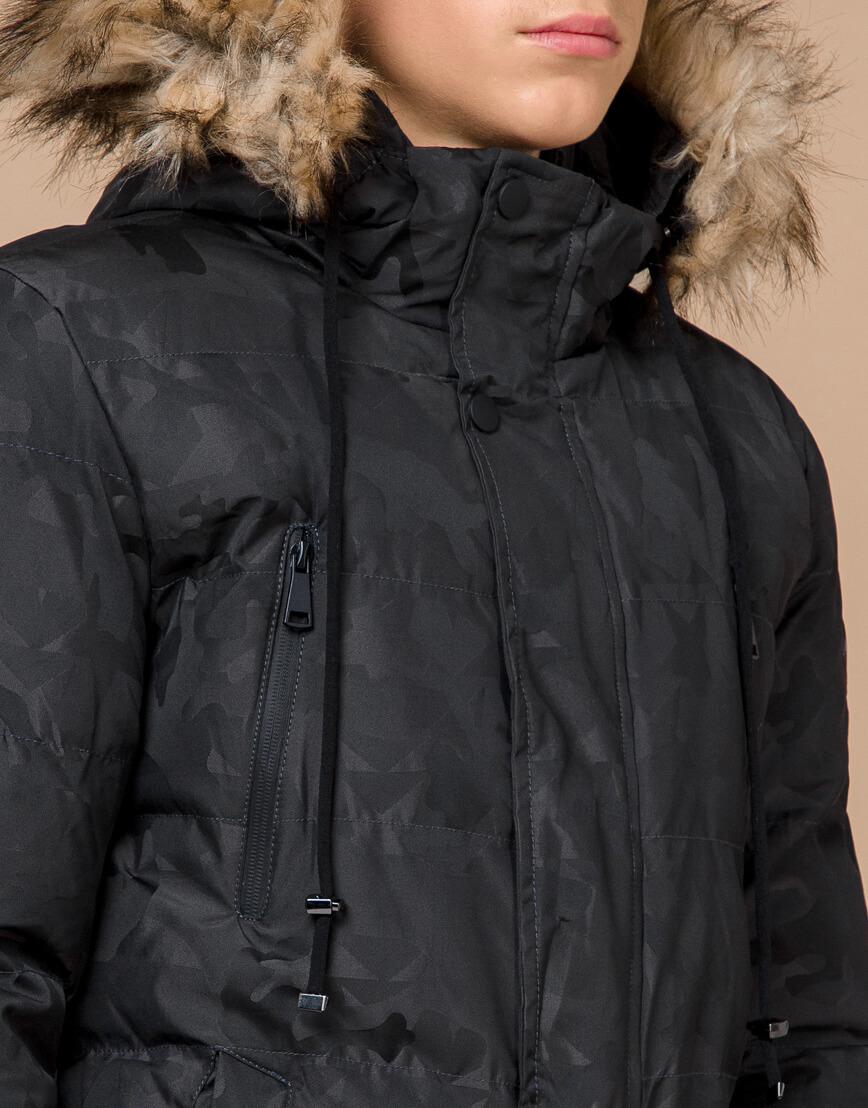 Дизайнерская куртка зимняя темно-серая модель 25110 фото 5