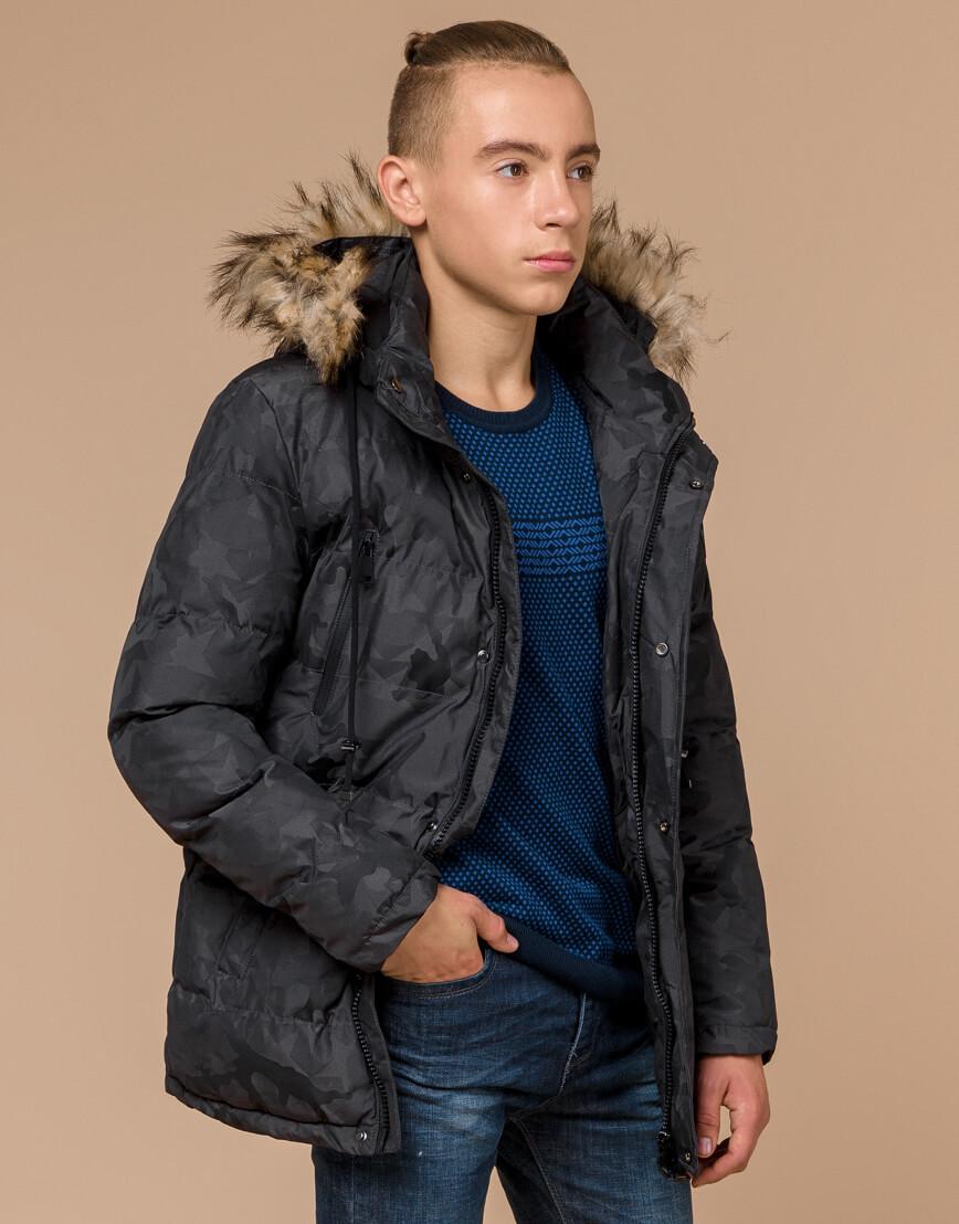 Дизайнерская куртка зимняя темно-серая модель 25110 фото 2