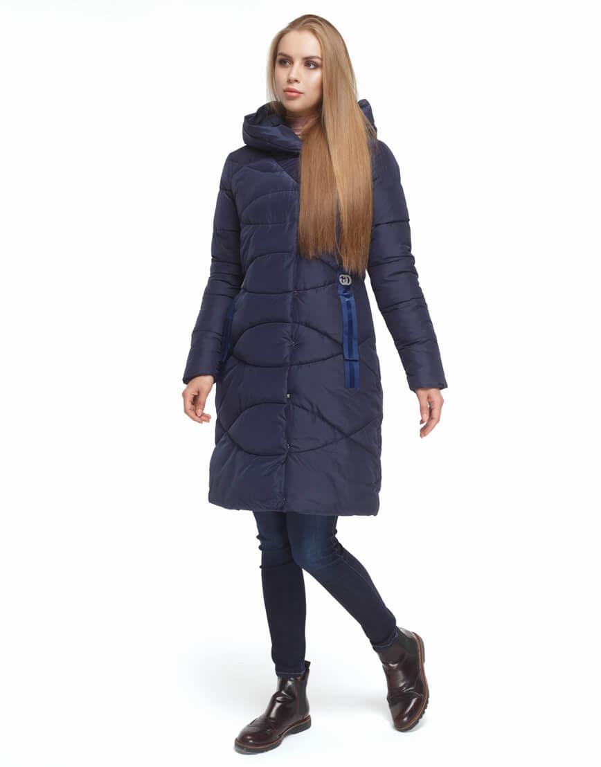 Женская синяя куртка с капюшоном модель 5058 фото 2