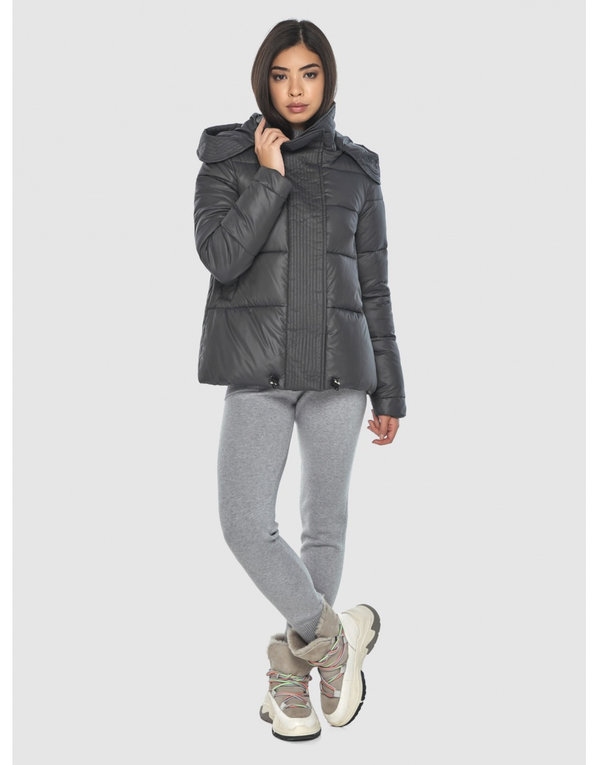 Серая люксовая женская куртка Moc M6981 фото 6