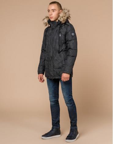 Дизайнерская куртка зимняя темно-серая модель 25110