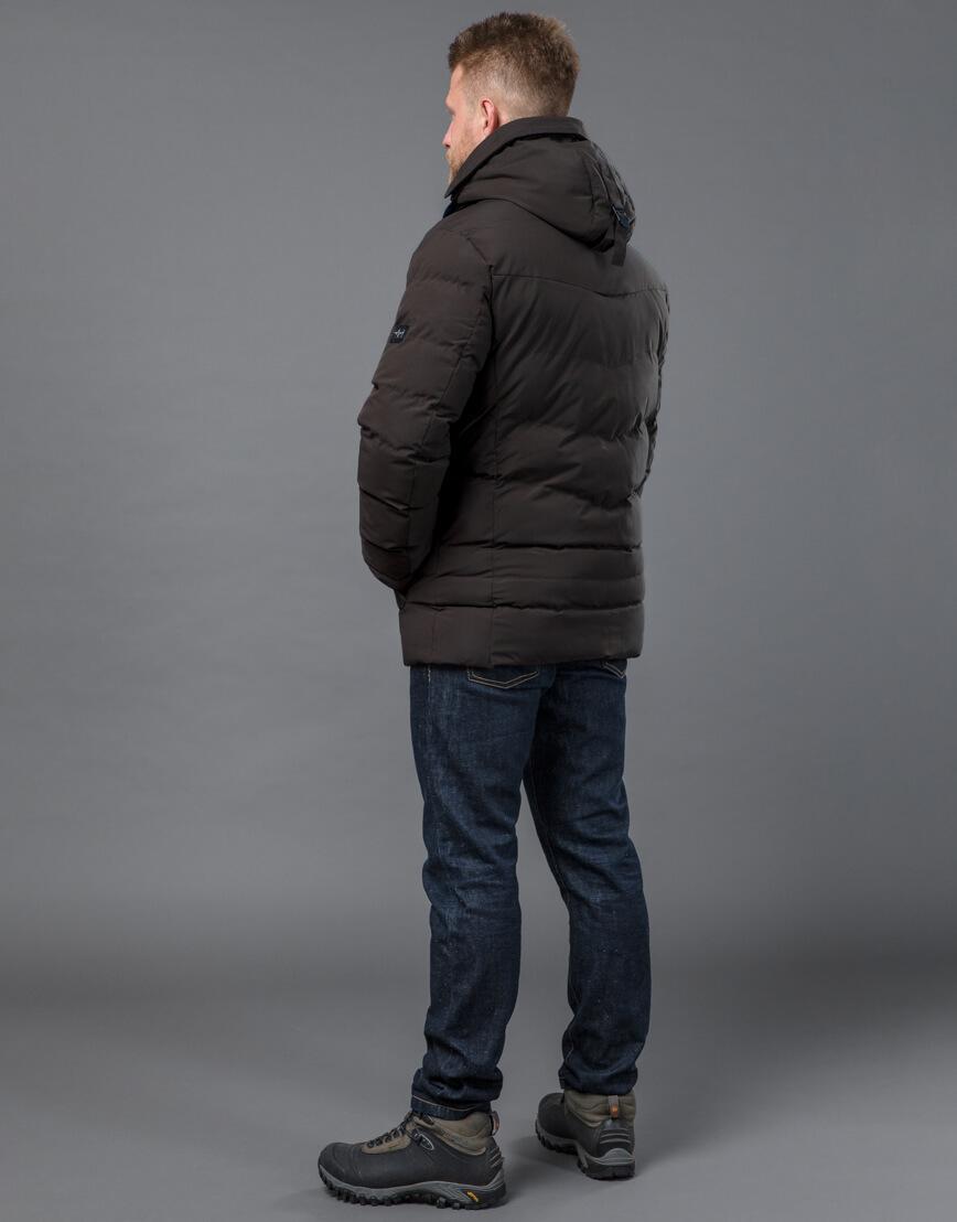 Куртка цвета кофе зимняя короткая модель 52235 фото 4