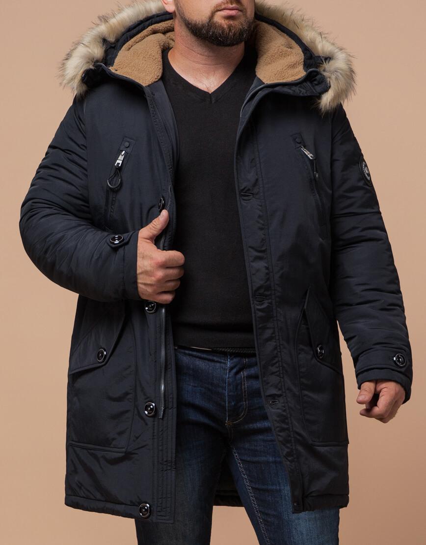 Мужская черно-синяя парка на зиму модель 91660 оптом фото 2