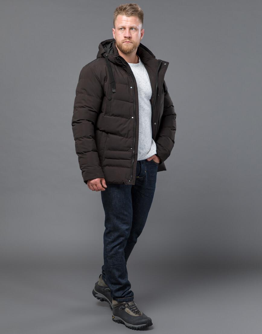 Куртка цвета кофе зимняя короткая модель 52235 фото 2