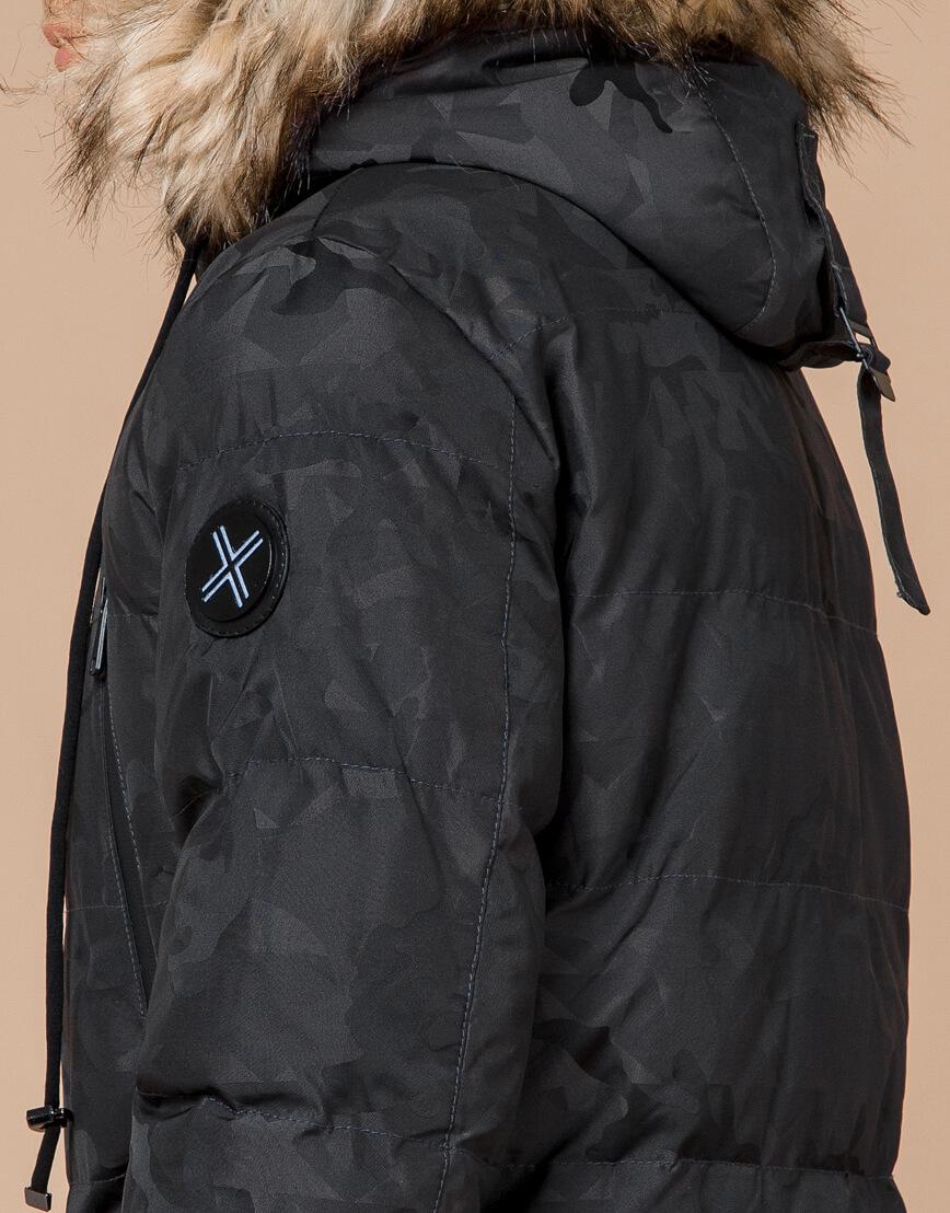 Дизайнерская куртка зимняя темно-серая модель 25110 фото 7