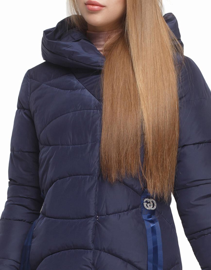 Женская синяя куртка с капюшоном модель 5058 фото 5