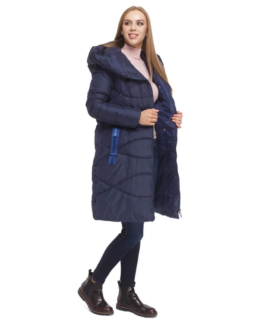 Женская синяя куртка с капюшоном модель 5058 фото 1