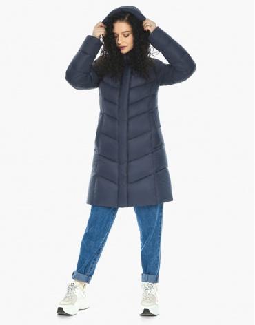 Пуховик куртка Youth темно-синяя женская молодежная удобная модель 21025 фото 1