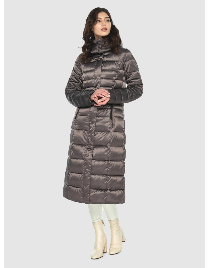 Длинная капучиновая куртка женская Vivacana 8140/21 фото 3