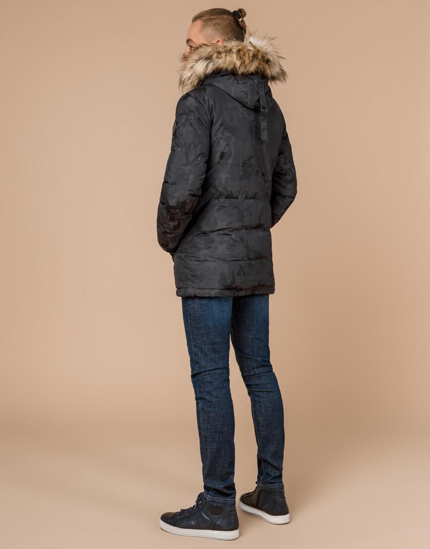 Дизайнерская куртка зимняя темно-серая модель 25110 фото 4
