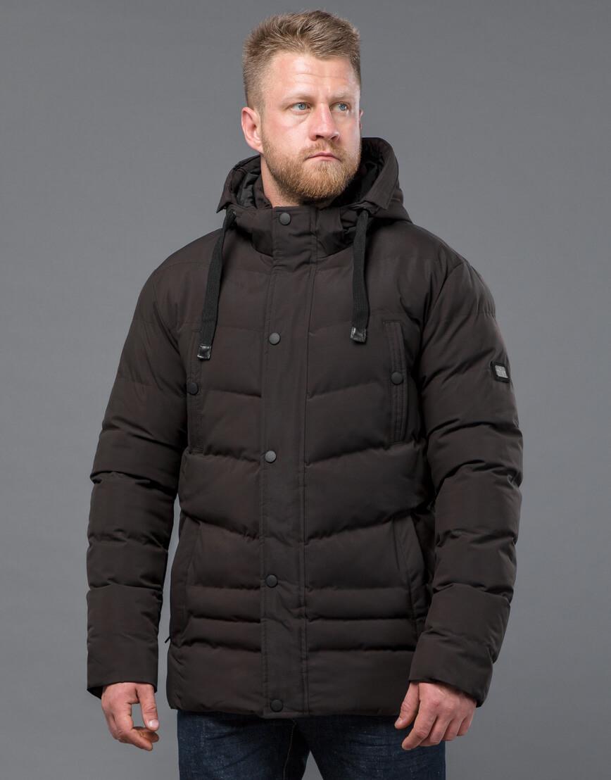 Куртка цвета кофе зимняя короткая модель 52235 фото 1