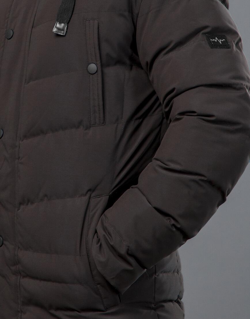 Куртка цвета кофе зимняя короткая модель 52235 фото 6