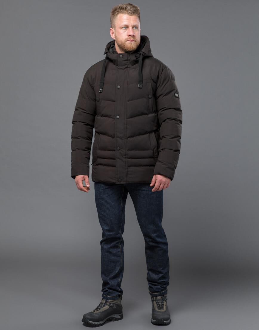 Куртка цвета кофе зимняя короткая модель 52235 фото 3