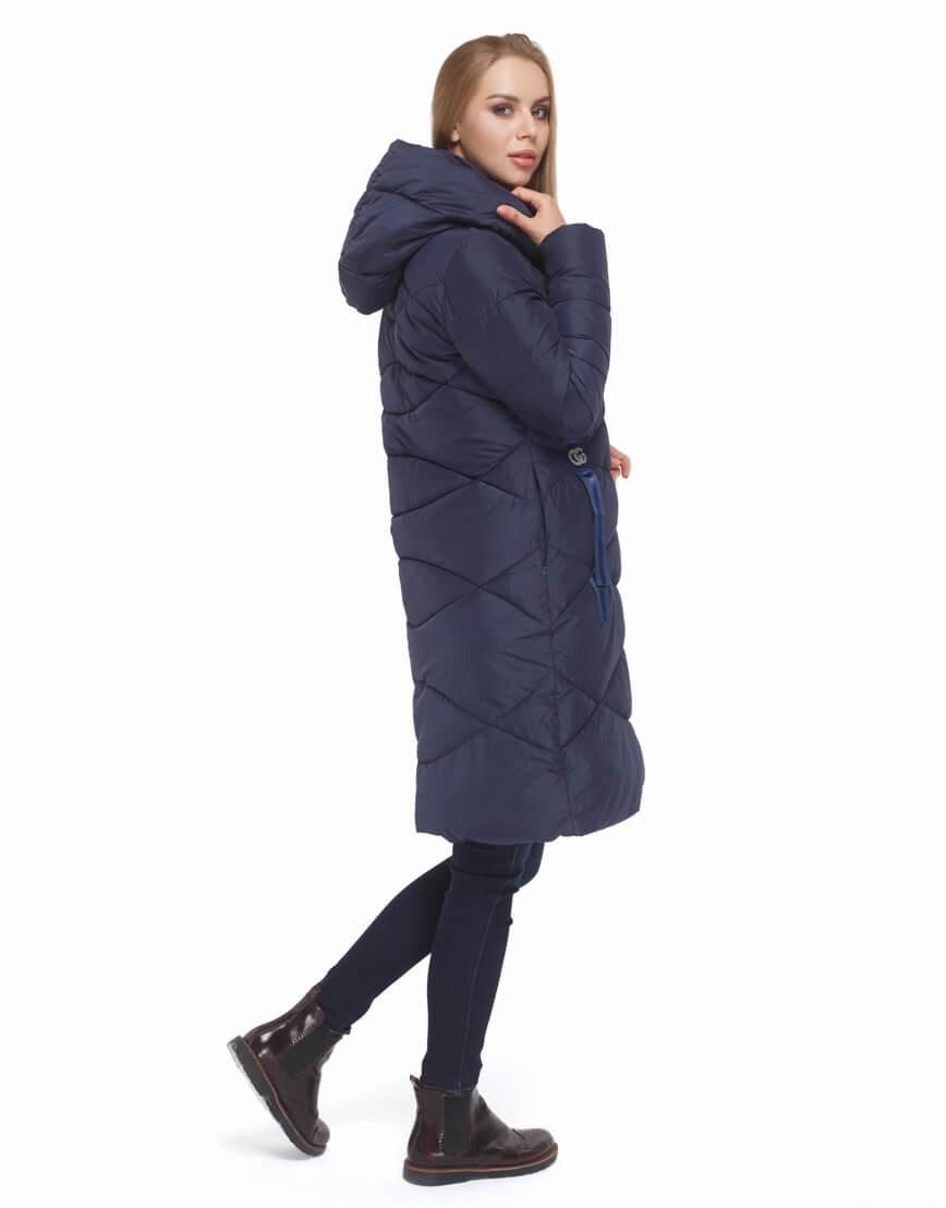 Женская синяя куртка с капюшоном модель 5058 фото 4