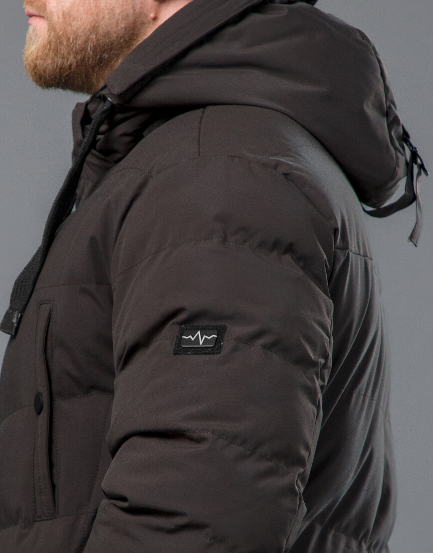 Куртка цвета кофе зимняя короткая модель 52235 фото 7