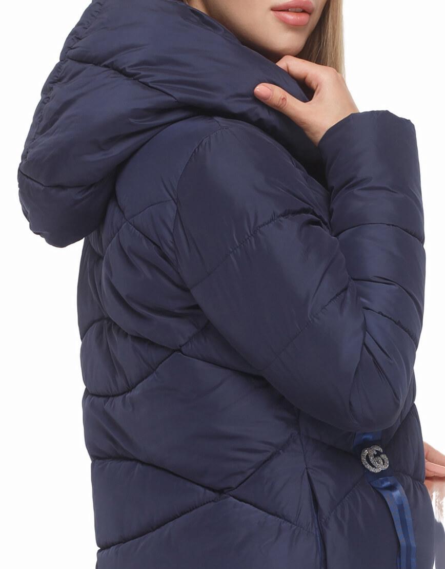 Женская синяя куртка с капюшоном модель 5058 фото 6