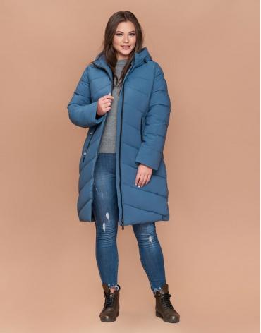 Куртка трендовая женская большого размера зимняя темно-голубая модель 25015
