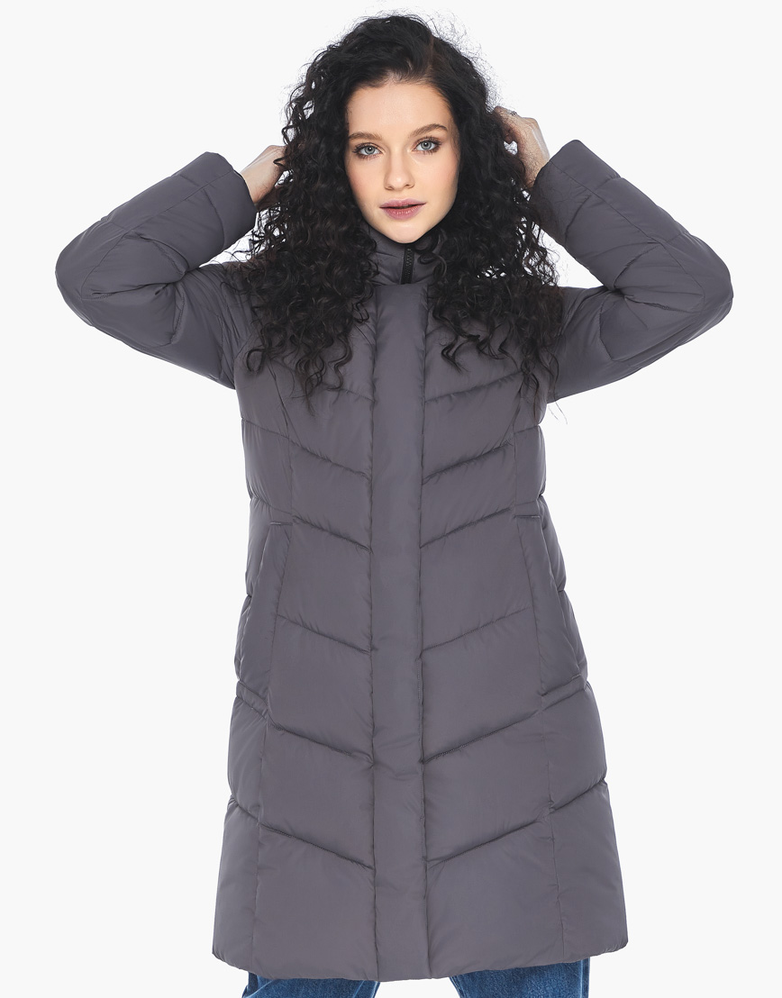 Куртка пуховик Youth женский графитовый молодежный фирменный модель 21025 фото 2