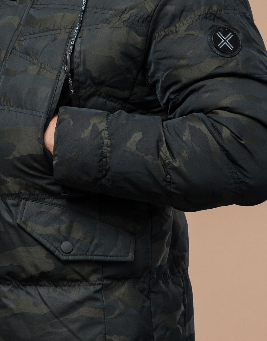 Темно-зеленая дизайнерская куртка зимняя удобная модель 25140 фото 6