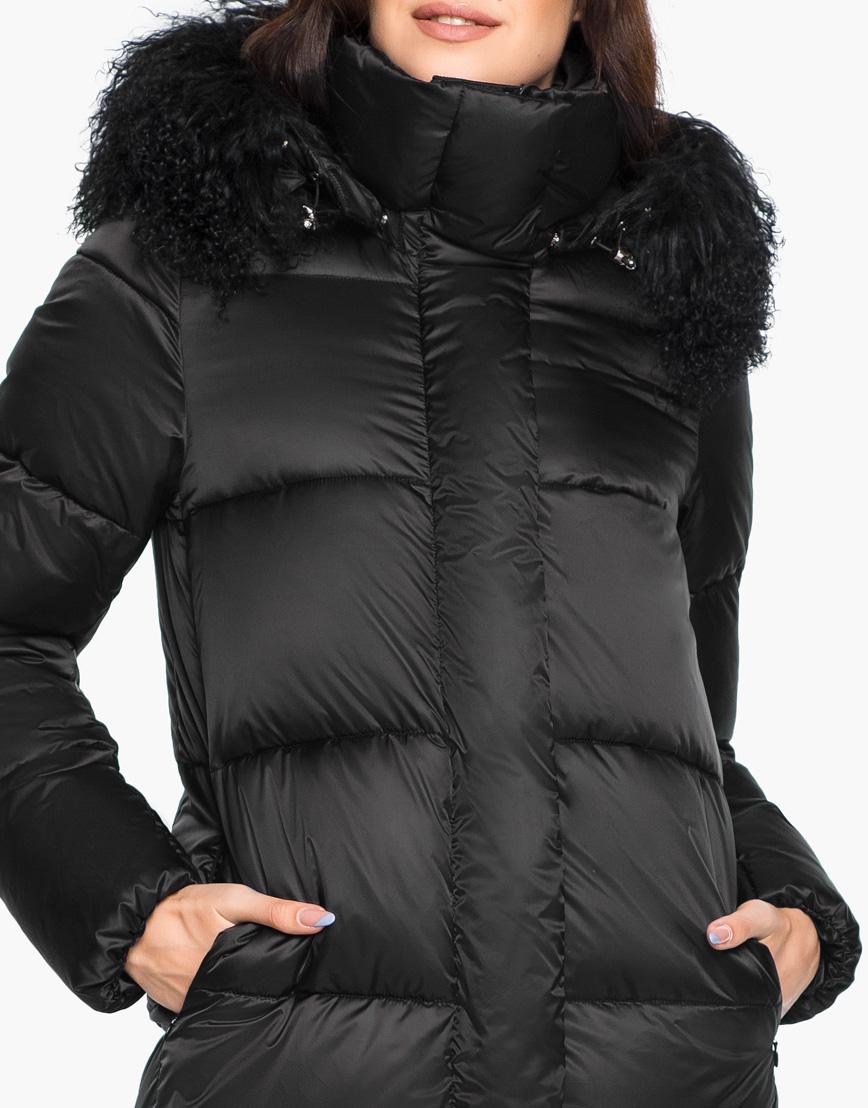Женский комфортный черный воздуховик Braggart зимний с капюшоном модель 31072 фото 5