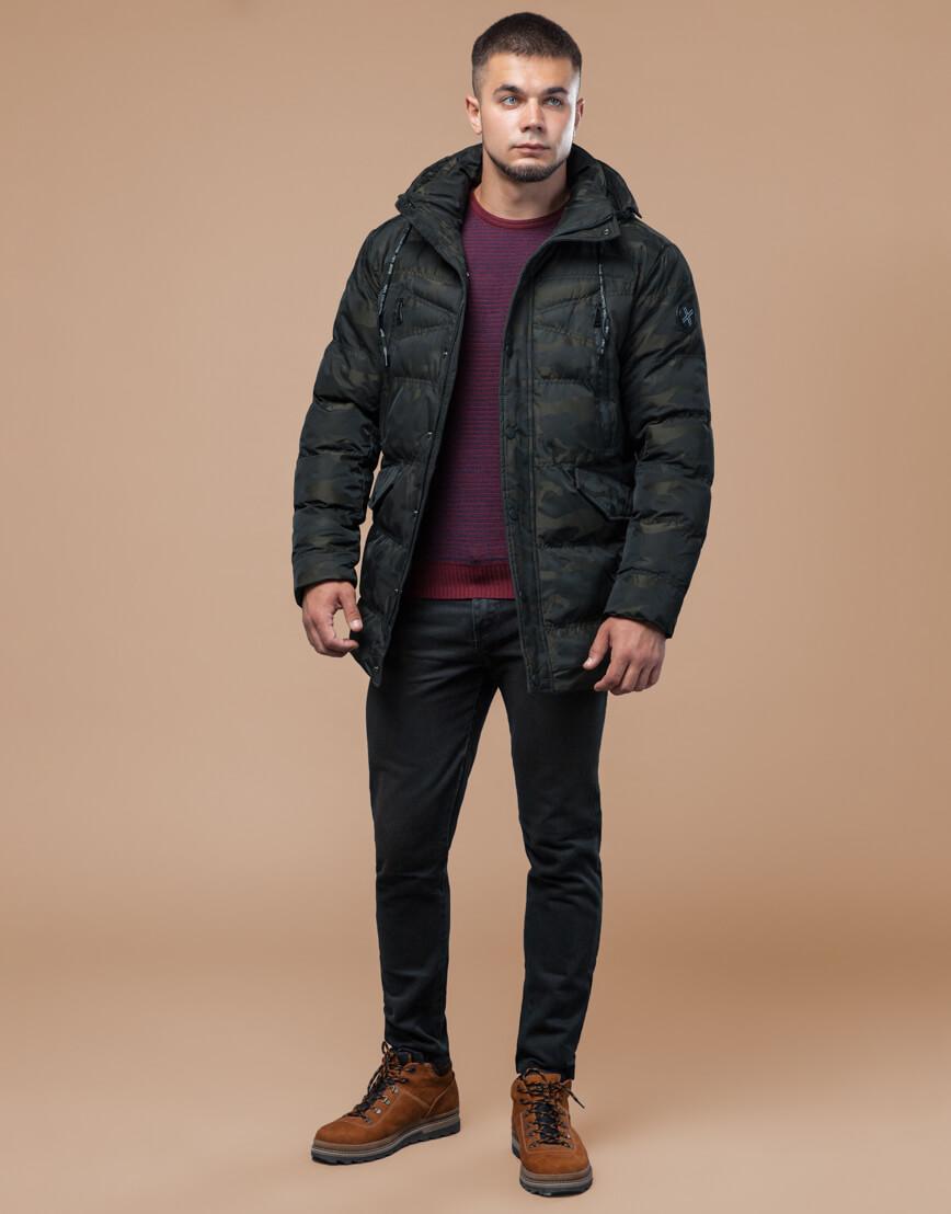 Темно-зеленая дизайнерская куртка зимняя удобная модель 25140 фото 2