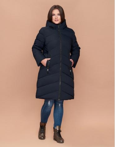 Зимняя женская качественная темно-синяя куртка большого размера с карманами модель 25015