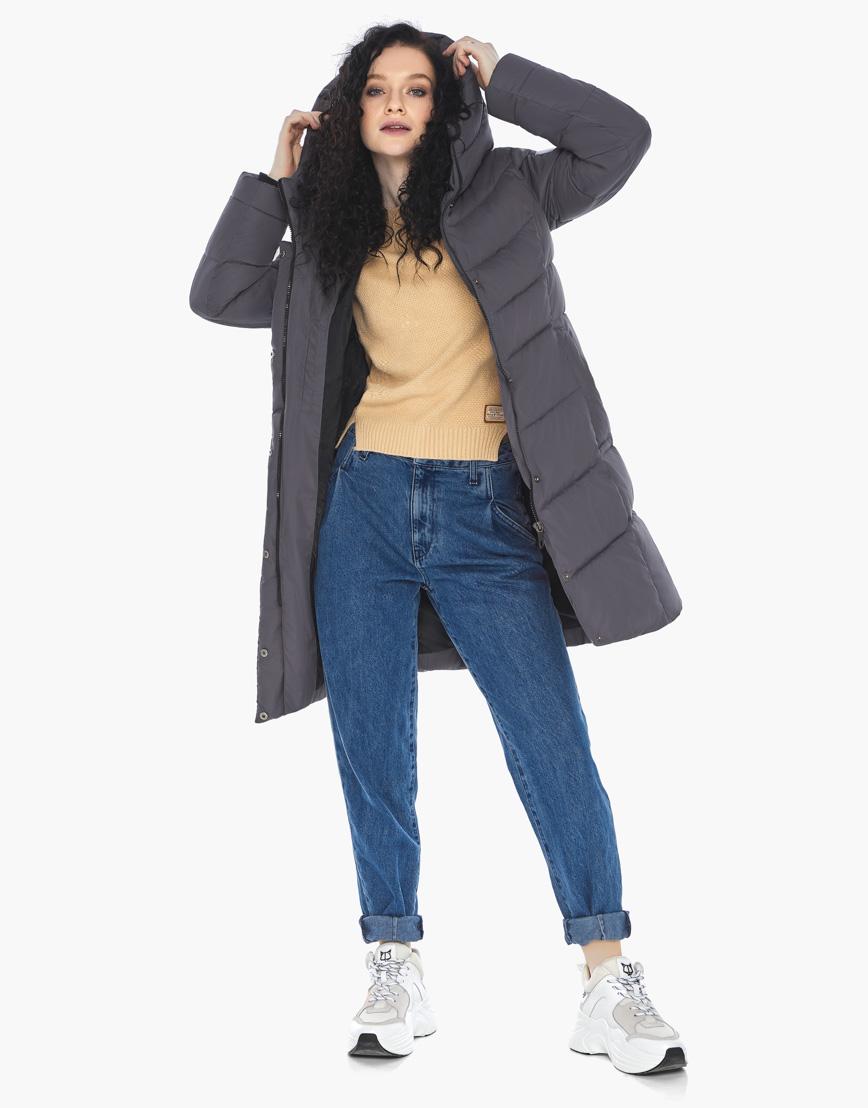 Куртка пуховик Youth женский графитовый молодежный фирменный модель 21025 фото 3