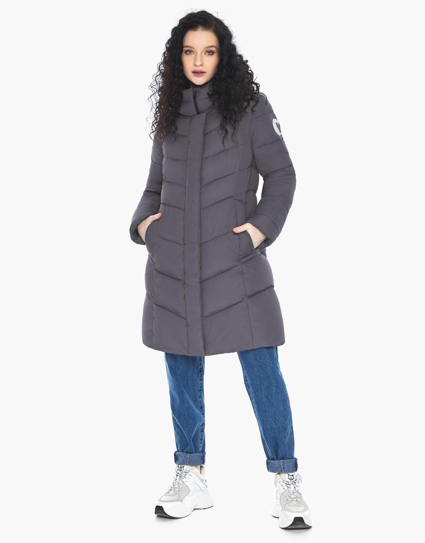 Куртка пуховик Youth женский графитовый молодежный фирменный модель 21025 фото 4