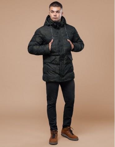 Темно-зеленая дизайнерская куртка зимняя удобная модель 25140 фото 1
