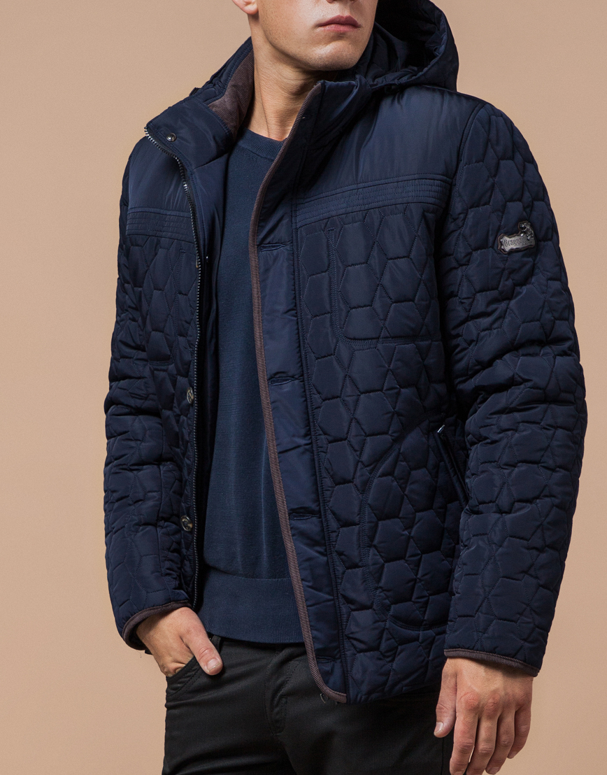 Удобная синяя куртка с капюшоном модель 3570