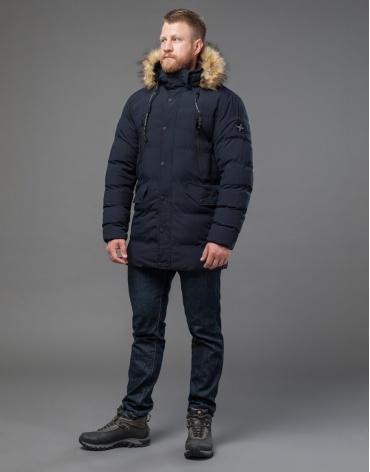 Практичная синяя куртка на зиму модель 72160 оптом