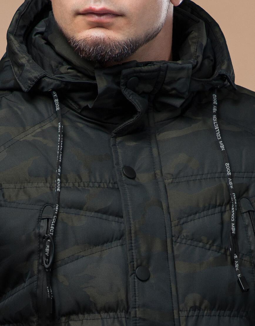 Темно-зеленая дизайнерская куртка зимняя удобная модель 25140 фото 5