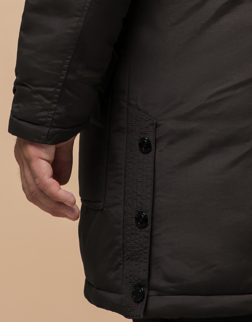Парка коричневая зимняя для мужчин модель 96120 оптом
