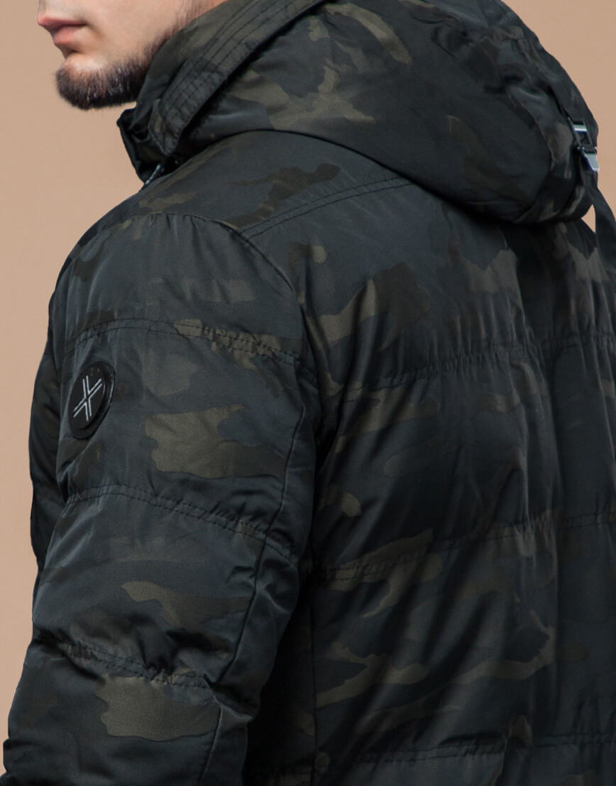Темно-зеленая дизайнерская куртка зимняя удобная модель 25140 фото 7