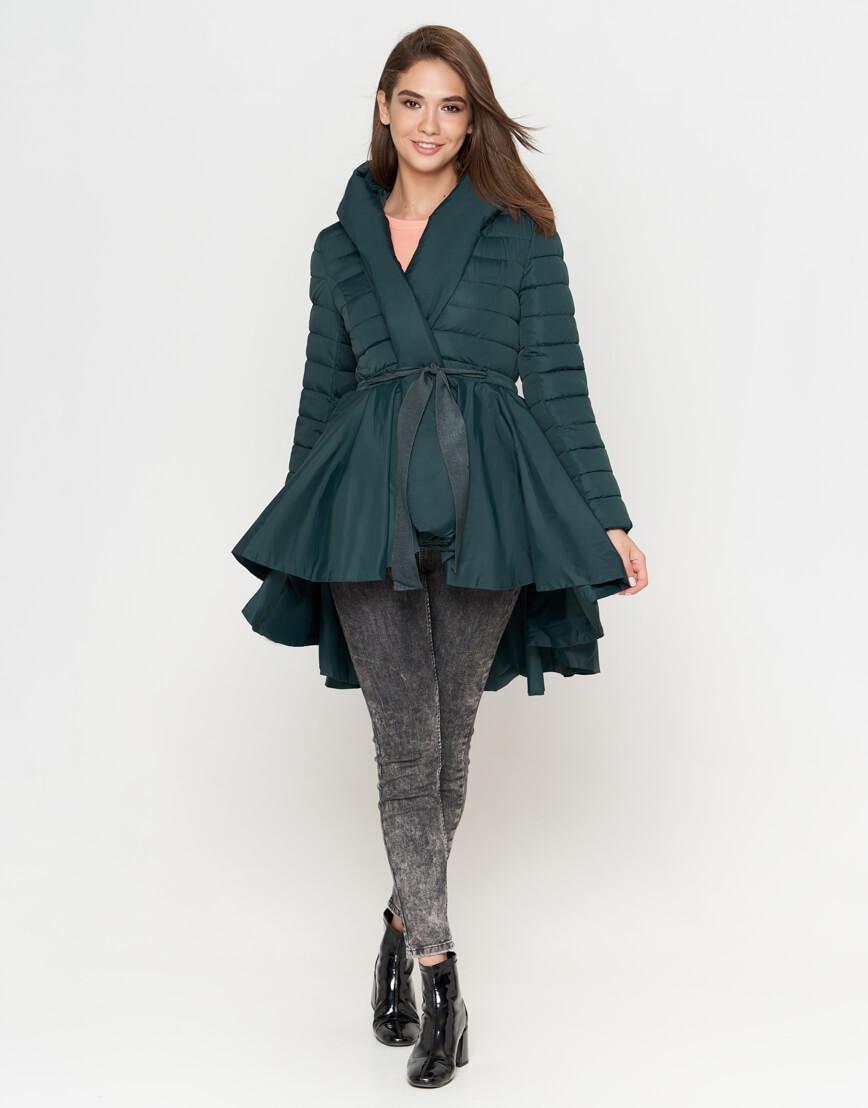 Зеленая куртка женская стильная модель 25755 фото 2