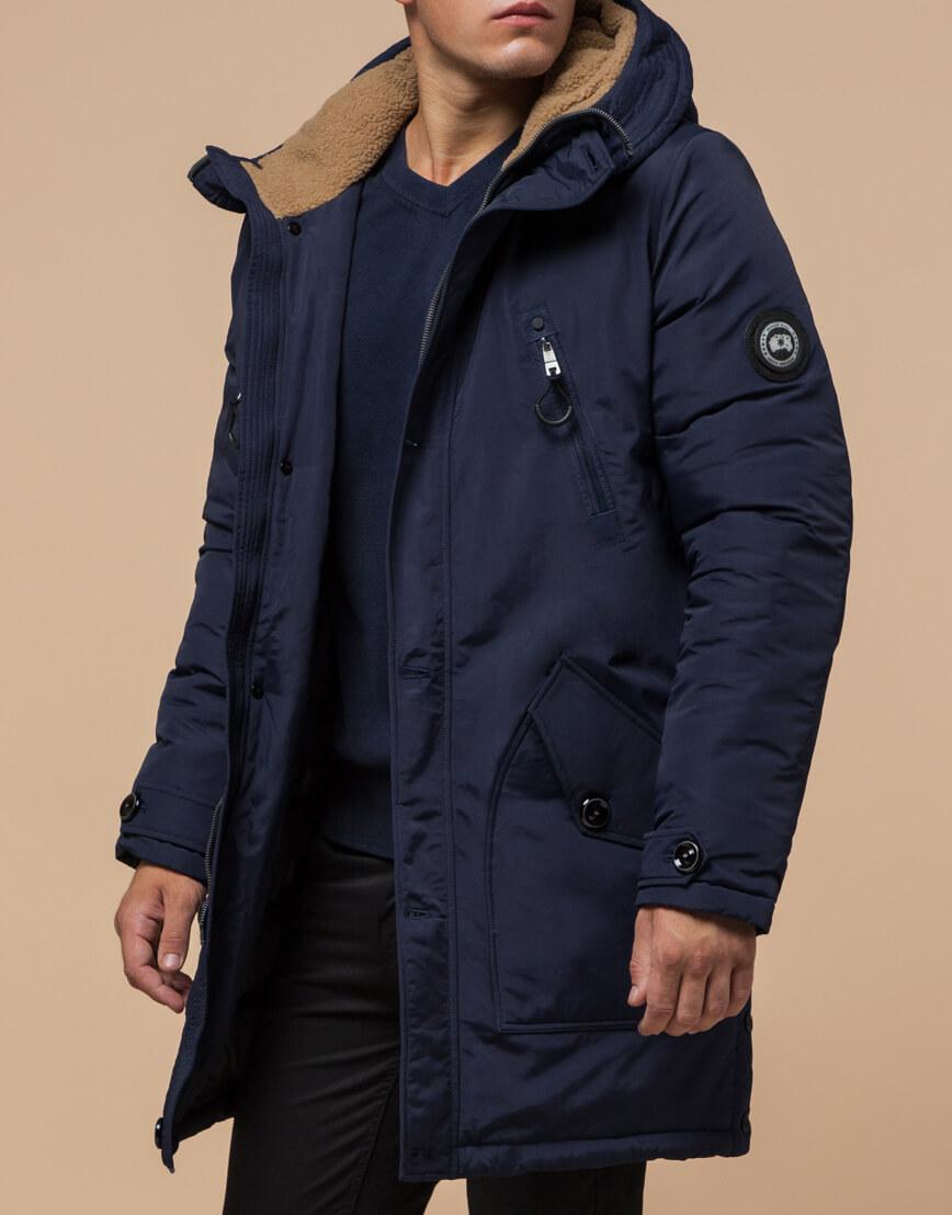 Синяя парка мужская на зиму модель 96120 оптом фото 2