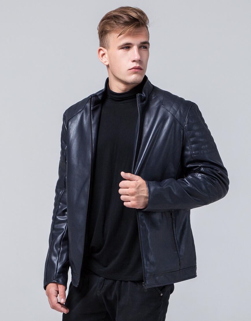Темно-синяя куртка прямого силуэта осенне-весенняя модель 4327 фото 2
