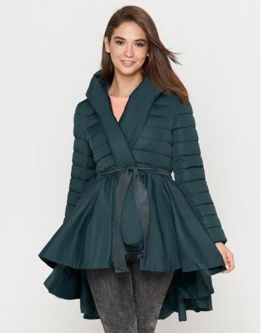 Зеленая куртка женская стильная модель 25755 фото 1