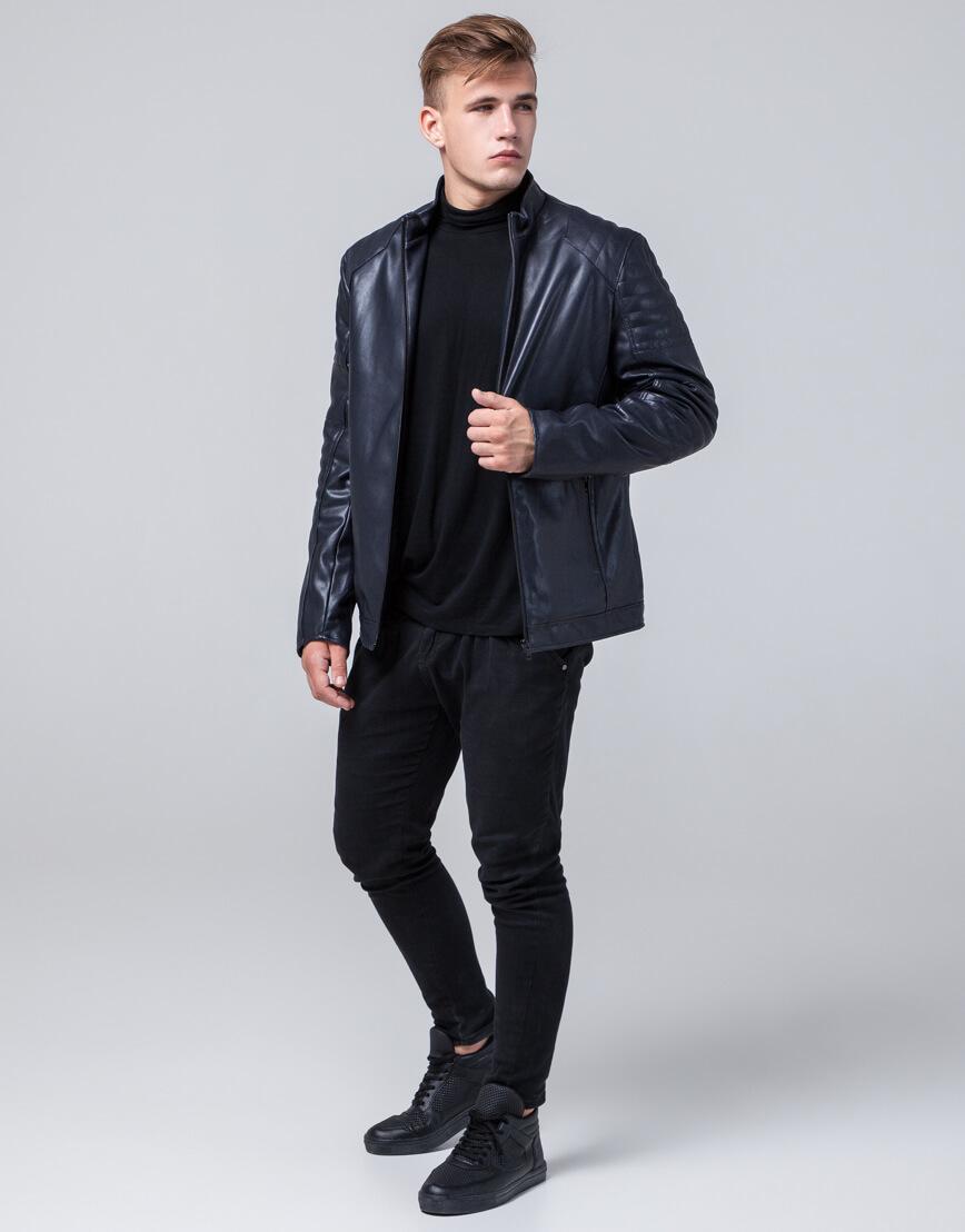 Темно-синяя куртка прямого силуэта осенне-весенняя модель 4327 фото 3
