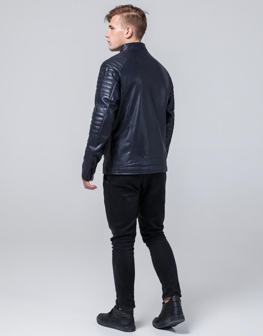 Темно-синяя куртка прямого силуэта осенне-весенняя модель 4327 фото 4