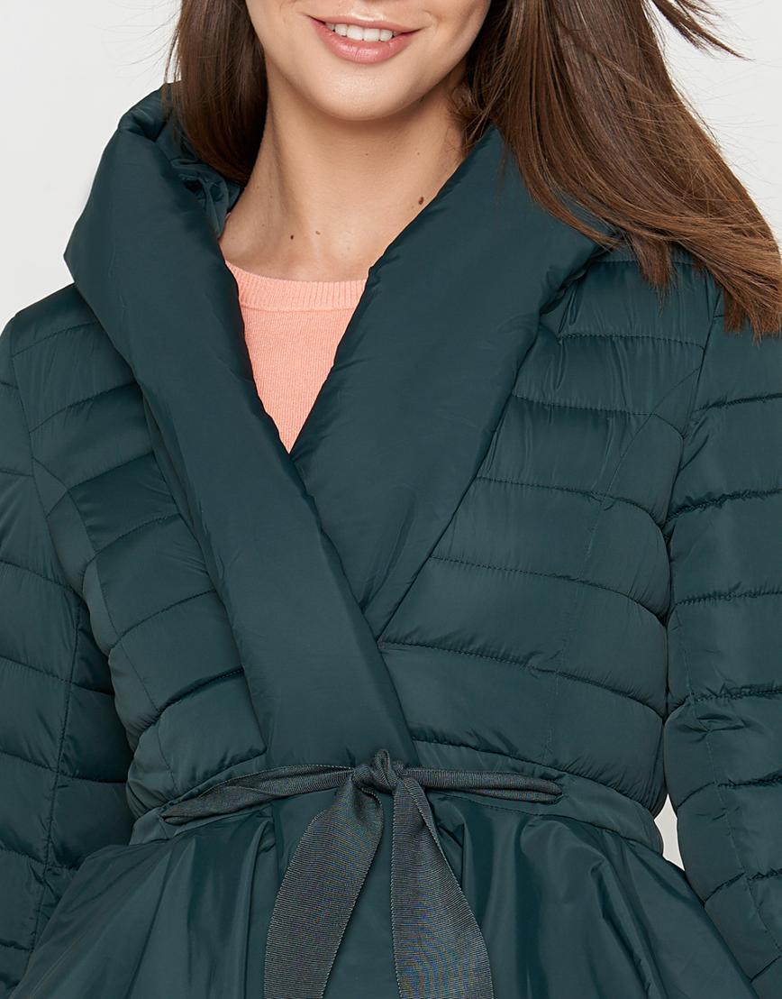 Зеленая куртка женская стильная модель 25755 фото 4