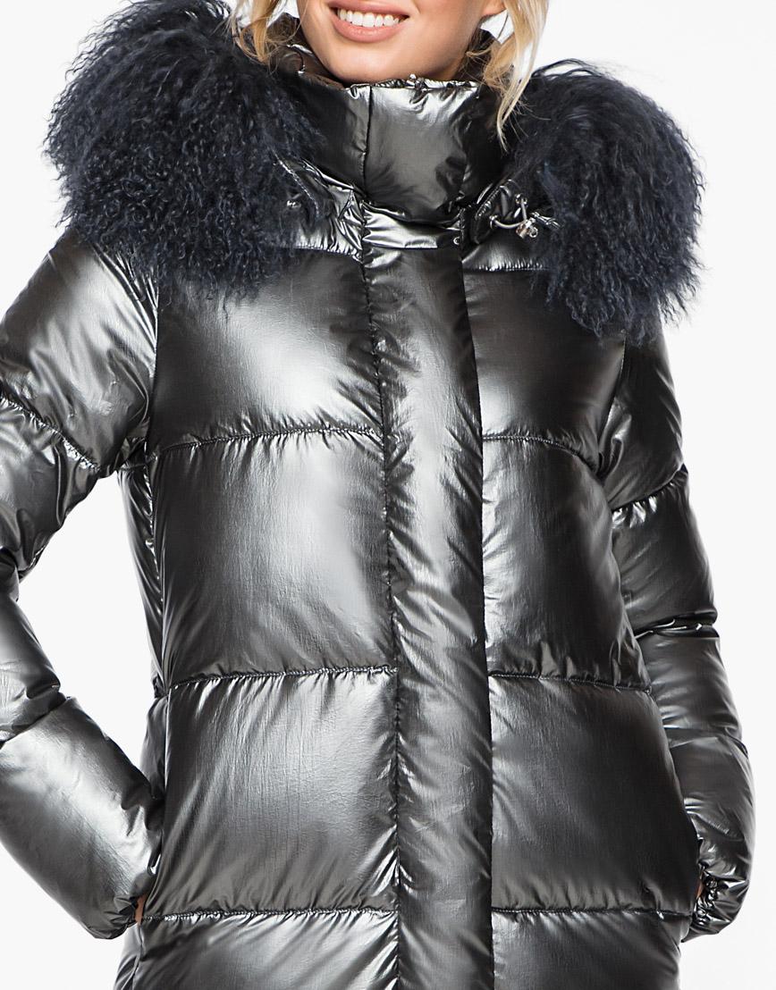 Женский стильный зимний воздуховик Braggart на молнии цвет темное серебро модель 31072