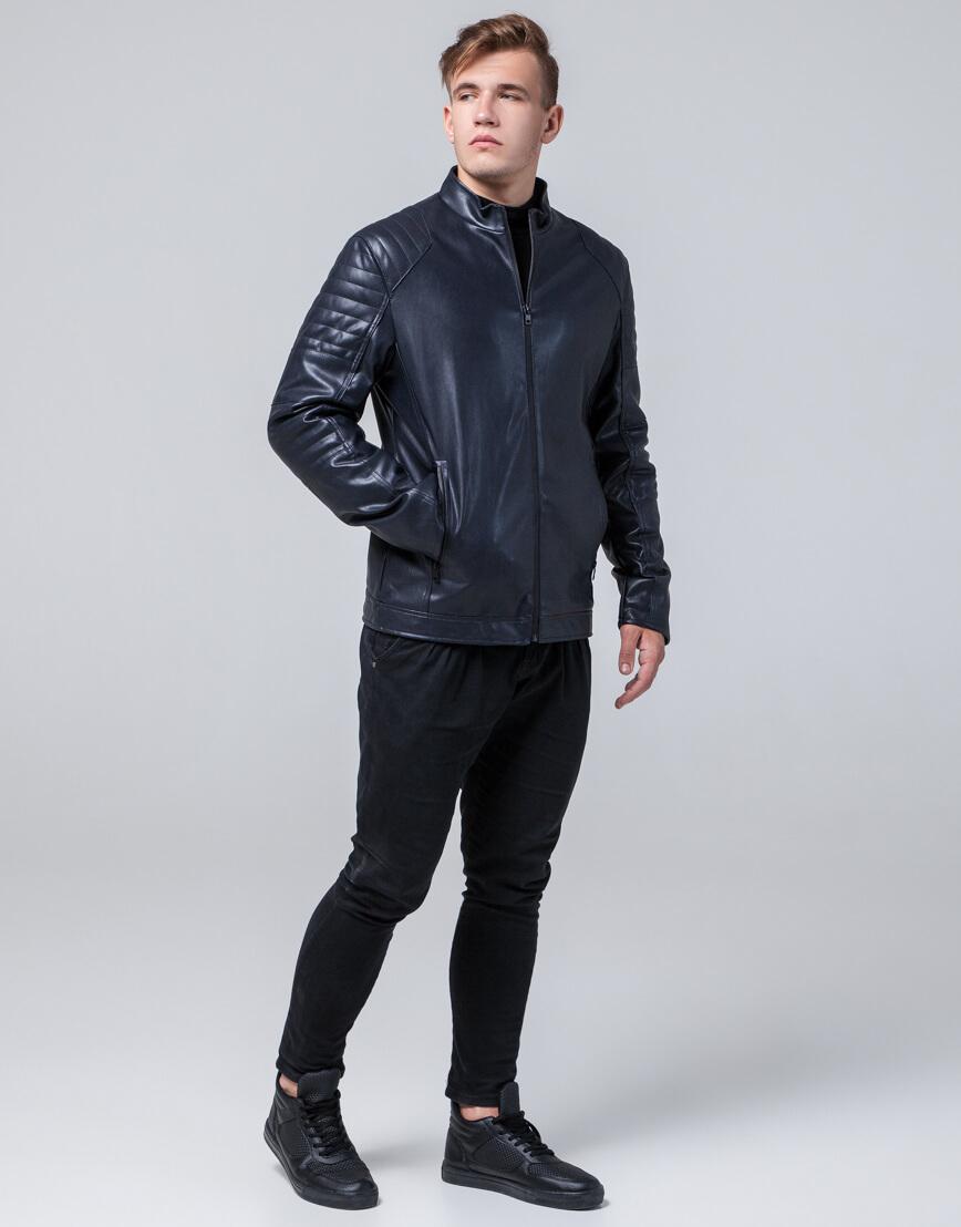Темно-синяя куртка прямого силуэта осенне-весенняя модель 4327 фото 1