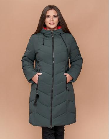 Зимняя длинная женская куртка большого размера серо-зеленого цвета модель 25695