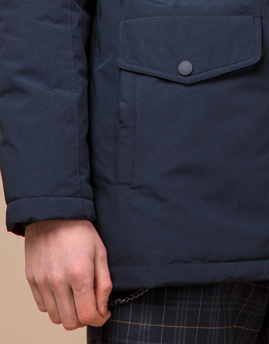 Парка темно-синяя молодежная удобная модель 25520