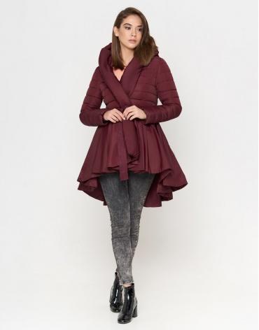 Куртка бордовая качественного пошива женская модель 25755