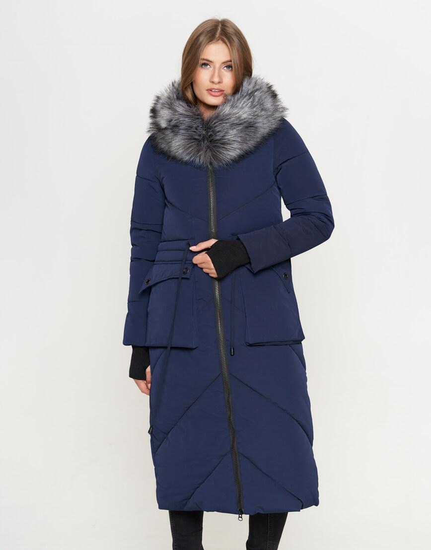 Куртка синяя женская с капюшоном модель 1808