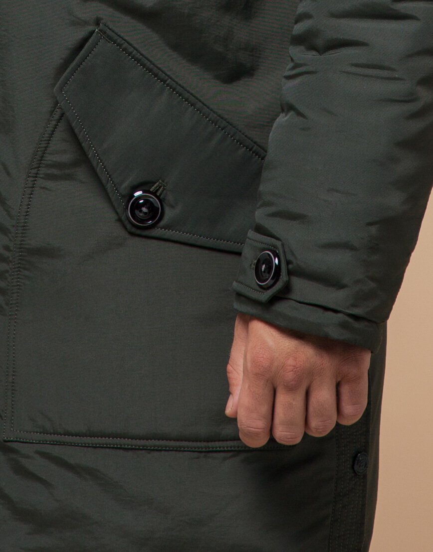 Зимняя парка мужская цвета хаки модель 96120 оптом